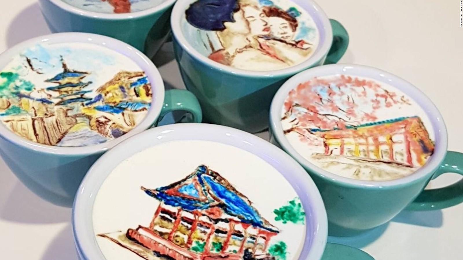 Prachtige latte art dat er uitziet als bekende schilderijen
